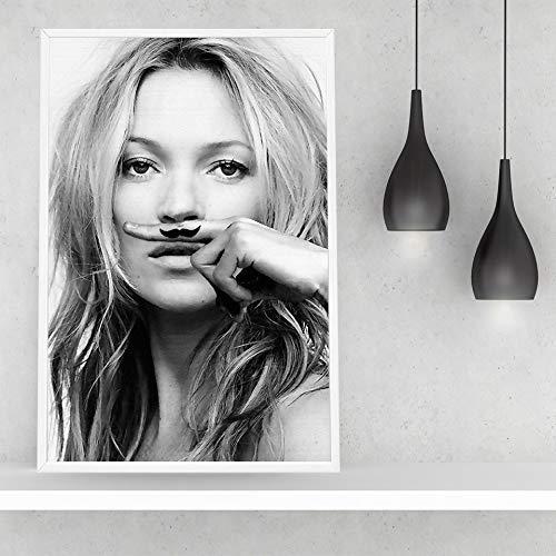 Puzzle 1000 piezas Modernos carteles e impresiones de Kate Ann Moss en lienzo en blanco y negro y paredes de decoración nórdica para el salón en Juguetes y juegos Rompecabezas50x75cm(20x30inch)