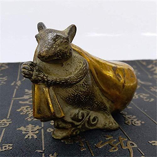 JLXQL statue ornamentLittle Mouse Pulling Golden Belt Sculpture Statue Handmade Brass Crafts Metal Animal Ornaments