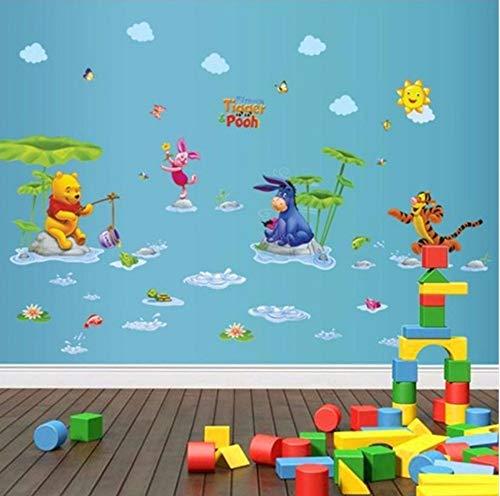 Zjxxm Cartoon Bear Tiger Animals Friends For Children'S Room Wall Decorative Wall Stickers Decals Kids Baby Nursery Room Mural 50 * 70Cm