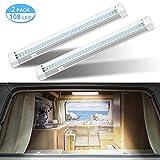 Haofy Barra de Luz 2x108 LED Iluminación Interior Coche Tubo DC12V 6W Lámpara de Coches Barra de Tira Luz de Techo Universal para Vehículo Interior Camión Vehículo con Interruptor de Encendido/Apagado