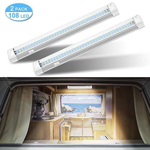 Haofy 2x108 LED Innenraumbeleuchtung Auto Innenbeleuchtung DC 12V LED Unterbauleuchte mit Verdrahtungslöcher an beiden Enden, ON/Off Schalter Leuchte für KFZ Wohnwagen Boot [Energieklasse A+] - Weiß