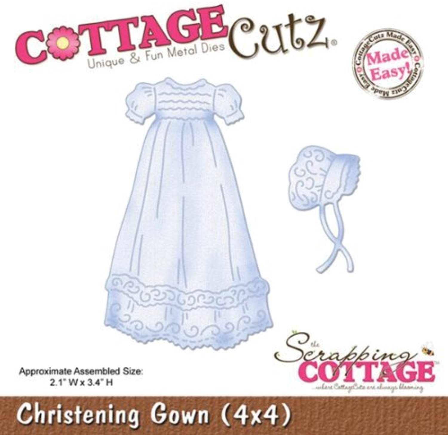 CottageCutz Die Cuts with Foam, 4 by 4-Inch, Christening Gown Made Easy by CottageCutz B01KBBDSJ2  | Zürich