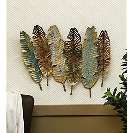 Style Home Art Rajasthani Iron Handcrafted Gold Metal Antique Leaf Wall Art (Multi Colored) 28 * 2 * 30 in