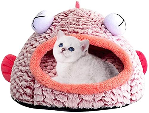DHGTEP Cat Cave Bed Funny Fish-Shaped Bed with Washable Plush Cat Mat Kitten Puppy Waterproof Cat Bed for Indoor Small Medium Large Cats (Color : Pink, Size : 40x40x35cm)