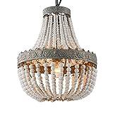 Newrays Retro Loft Vintage Rustikale Runde Holzperlen Pendelleuchte E27 Led Hängende Lampe Dekor Lichter Moderne Für Wohnzimmer Hotelküche (Small)