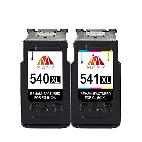 Mony Remanufacturado Cartuchos de Tinta Canon PG 540 CL 541 XL (1 Negro, 1 Tricolor) Compatible con Canon Pixma MG3650 MX475 MG4250 MG3550 MG3250 MG3150 MX535 MX395 MG3200 Impresoras