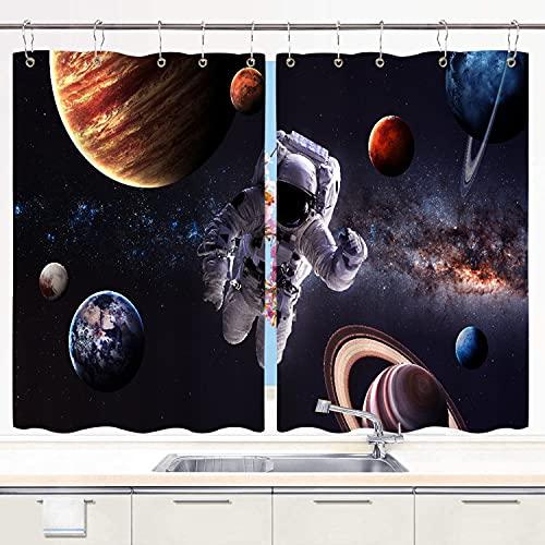 BOKEKANG Cortinas para Ventana de Cocina,Astronauta en el Espacio Ultraterrestre Telón de Fondo del Planeta Tierra,Cortinas Cortas con Decoración de Ganchos para Baño,Paquete de 2,140x100cm