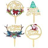 Amosfun 4 piezas Feliz Navidad Cake Topper Santa Reno Navidad Cupcake Topper Alimentos Frutas Picks Cake Decoraciones para Navidad Fiesta Suministros