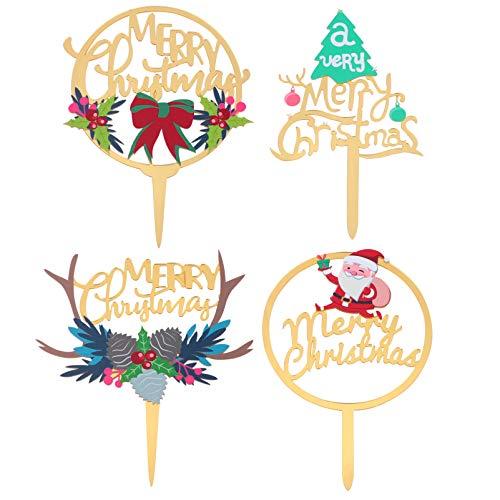 Amosfun 4Pcs Merry Christmas Cake Topper Santa Reindeer Christmas Cupcake Topper Food Fruit Picks Cake Decorations for Xmas Holiday Party Supplies
