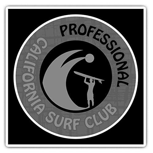 Impresionantes pegatinas cuadradas (juego de 2) 7,5 cm BW – California Professional Surf Club Surfing Divertidas calcomanías para portátiles, tabletas, equipaje, reserva de chatarras, neveras, regalo genial #40227