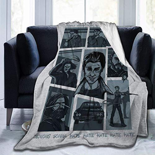 Manta de Franela Tela de Cepillo Extra Suave Súper cálida Mantas para sofás acogedora y Ligera Parodia Song Hillywood Show Sam y Dean Winchester