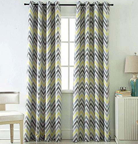 Jarl home Yellow Blackout Kitchen Curtains 63 inch Length, Water Ripple Window Drape for Bedroom Polyester Printing Curtain for Living Room, 2 Panels (Yellow, 5263)