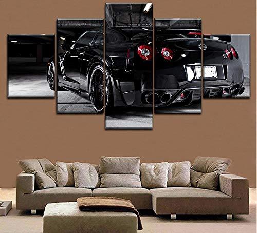 Wandkunst Leinwand HD gedruckte Malerei Home Decorative Wohnzimmer 5 Stück Nissa Skyline Gtr Auto Poster Modular Bild + Wandkunst Leinwand HD Druck Malerei Dekoration Wohnzimmer 5 schwarz Auto Poster