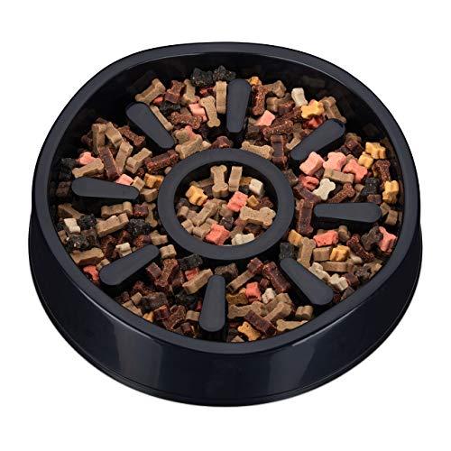 Relaxdays Anti Schling Napf Hund, Kunststoff, rutschfest, großer Futternapf für langsames Fressen, 900 ml, schwarz