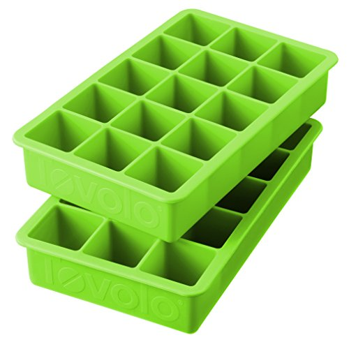 Tovolo Perfect Cube Ice Mold Trays, Sturdy Silicone, Fade Resistant, 1.25' Cubes, Set of 2, Spring Green