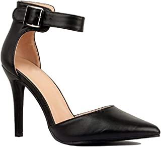 Women's Ankle Strap Stiletto Pumps Pointed Toe Dress D'Orsay High Heel Summer Wedding Shoes