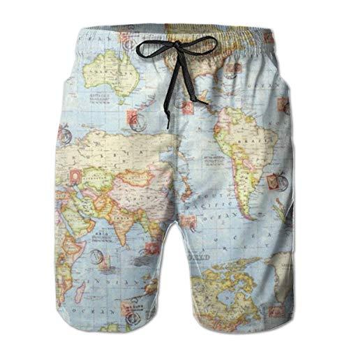 Atlas World Map Blue Travel Men Fashion Swim Trunks Pantalones Cortos Deportivos de Secado rápido Pantalones Cortos de Playa de Verano Pantalones Cortos con Bolsillo XXL