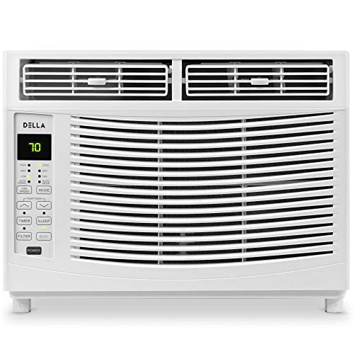 Della 6000 BTU Window Air Conditioner 690W, 115V/60Hz, 12.2 (EER) Energy Star Efficient Cooling Rooms up to 250 Sq. Ft. with 46 Pint/24hrs Dehumification, Digital Display with Remote