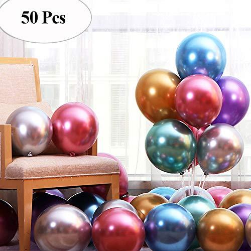 """JUZNOY 50 Stück 12"""" Luftballons Metallic Gold Silber Bunte Weiß mit Konfetti Balloons für Geburtstag Hochzeit Babyparty Valentinstag (Bunte)"""