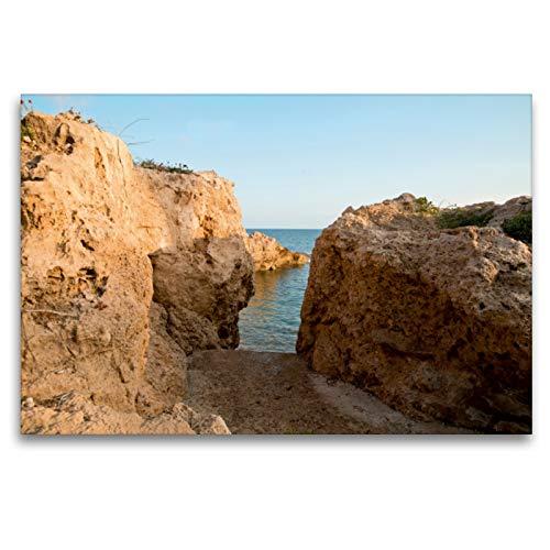 Premium Textil lienzo 120 cm x 80 cm horizontal, acceso a Felsenbucht, suroeste de Chipre, cuadro sobre bastidor, imagen sobre lienzo auténtico, impresión en lienzo (CALVENDO Orte);Calvendo Orte