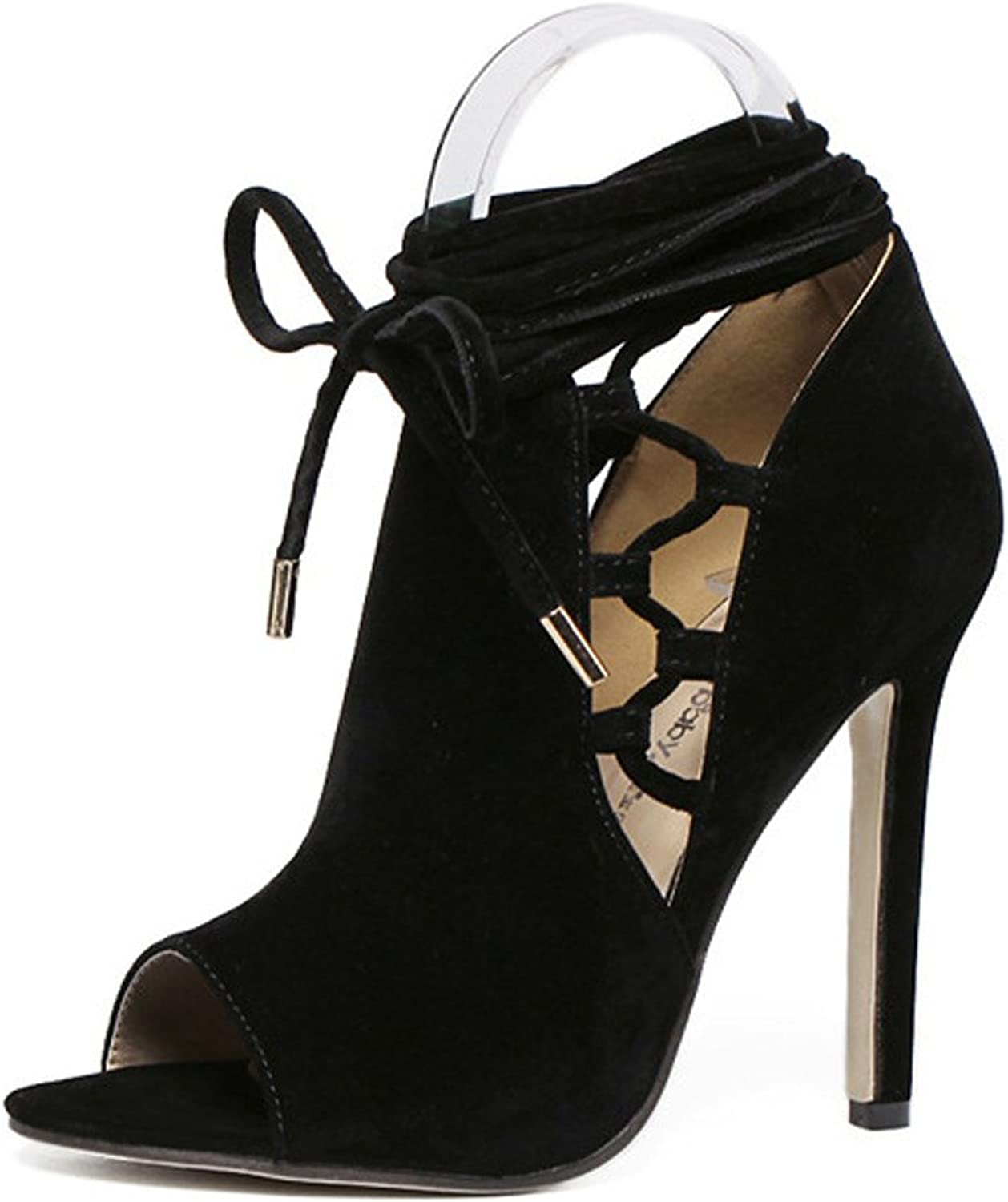 LZWSMGS Spring and Summer Suede Ladies Fish Mouth Sandals Cross Straps High Heels Street Nightclub Fashion shoes Black 35-40cm Ladies Sandals (color   Black, Size   37)