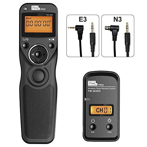 Mando a Distancia Disparador con 2 Cables de conexión E3/N3, Pixel TW-283 Disparador inalámbrico con Temporizador Mando a Distancia 2,4GHz para Canon EOS Cámaras
