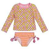 Tommy Bahama Girls' Long Sleeve 2-Piece Rashguard Swimsuit Bathing Suit, Coral, 6