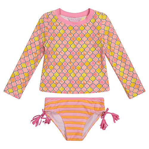Tommy Bahama Girls' Long Sleeve 2-Piece Rashguard Swimsuit Bathing Suit, Coral, 16