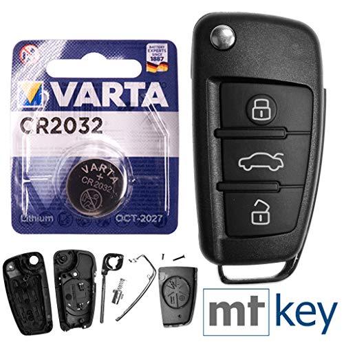 Autoschlüssel Funk Fernbedienung Austausch Gehäuse mit 3 Tasten + HAA Rohling + Batterie kompatibel mit A1 8X A3 8P 8V A4 B7 A6 C6 TT 8J Q3 8U Q7 4L R8