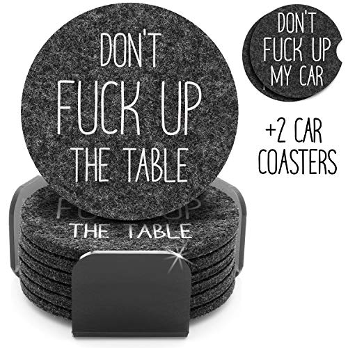 Funny Coasters For Drinks Set of 8 | 6 Absorbent Felt Coasters With Holder + 2 Car Coasters |...
