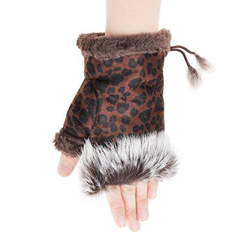 ZLYC Women Teen Classic Winter Warm Rabbit Fur Hands Wrist Fingerless Gloves ((Leopard) Brown)