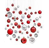 KayMayn 42pcs Palline di plastica Decorazioni per l'albero di Natale Ghirlande di Natale per interni ed...