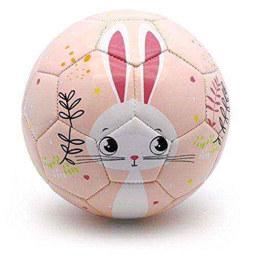 PP PICADOR Toddler Soft Soccer Ball Cute Cartoon Kids Ball with Pump Toy Gift for Kids, Children, Boys, Girls, Kindergarten (Pink Bunny, Size 3)