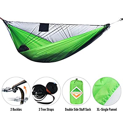 onewind Single Camping Hammock Mosquito Bug Net Kit,Tree Straps,Ridgline, Compact Sag Portable Outdoor Hammock for Backyard, Beach, Backpack, Starter (Green,115inch55inch)