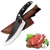 10.7 Zoll Küchenmesser Hackmesser - Hohe Qualität Forged Stahl handgefertigt - Ultra Sharp - Butcher Cleaver Ausbeinmesser Küchenmesser messer fleisch Ergonomischem Edelstahl mit Lederscheide