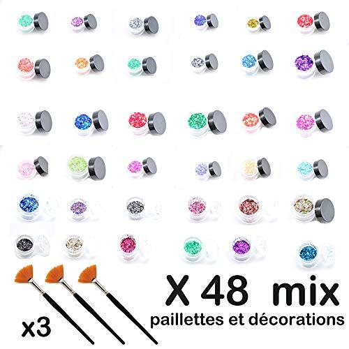48 pots de paillettes et décorations pour ongles scrapbooking inclus 3 pinceaux nail art