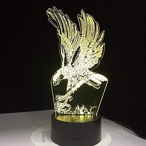 Luz de noche de ilusión 3D 7 colores Led Vision Eagle Design RGB Decoración del hogar Atmósfera USB Único colorido Regalo creativo Control remoto