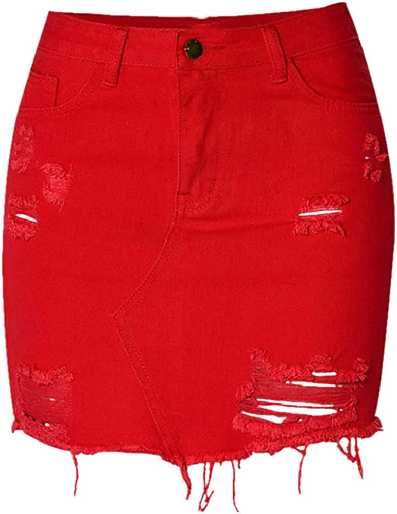 NP Waist Jeans Skirts Women Irregular Hole Denim Skirts Red Tassel Short