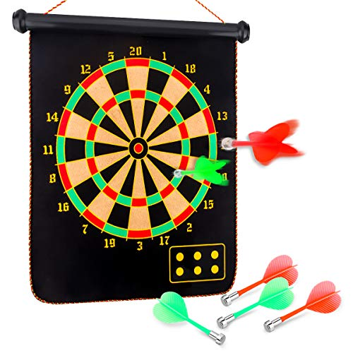 Yalis Premium Magnetic Dart Board Set for Family Games 15 Inchese Double Sided Dartboard Hanging Safety Dartboard with 6 PCS Dart Flights