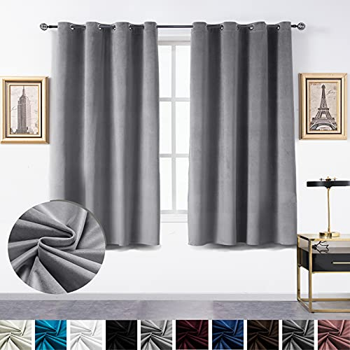 Topthumbs Light Gray Velvet Curtains for Bedroom Blackout, W52xL63 Inches 2 Panels, Grommet Flannel Drapes for Living Room, Window Curtain Panels Treatment Insulation Thermal for Room Darking