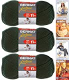 Bernat Softee Chunky Yarn Bundle Super Bulky #6, 3 Skeins Dark Green 28237