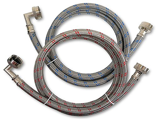 Premium Stainless Steel Washing Machine Hoses with 90 Degree Elbow, 10 Ft Burst Proof (2 Pack) Red and Blue Striped Water Connection Inlet Supply Lines - Lead Free