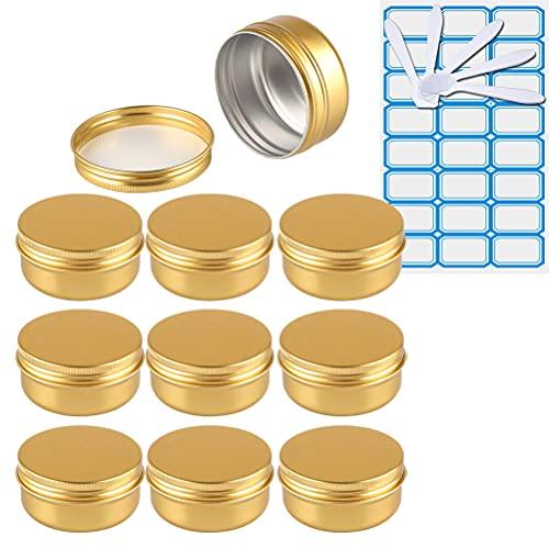 ZEOABSY 10 Stück 50ml Gold Aluminium Leer Döschen Runde Alu Dosen mit Schraubdeckel Cremedose...