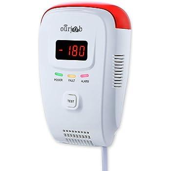 Rilevatore di gas, Ourjob GPL/Gas naturale/Rilevatore di gas di carbone Sensore Plug-in Allarme Gas Metano Rilevatore di Gas Combustibile con Allarme Vocale e Display digitale(Bianco)
