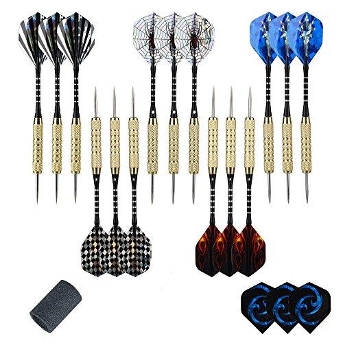 moonlux 15 Stück Steel Darts Pfeile Set, Steeldarts Dart Pfeile mit Metallspitze, Aluminium Schaft, 3 Stück Ersatzflights, 18g, mit Point Spitzer