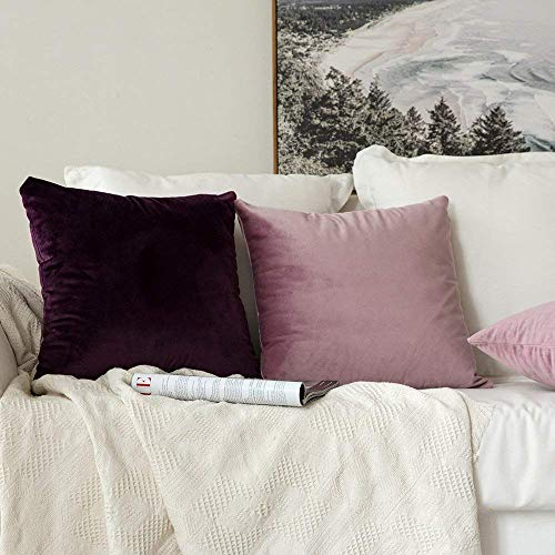 MIULEE Velvet Soft Decorative Square Throw Pillow Case Cushion Covers Pillowcases for Livingroom Sofa Bedroom with Invisible Zipper 26'x26' 2 Pieces Lilac