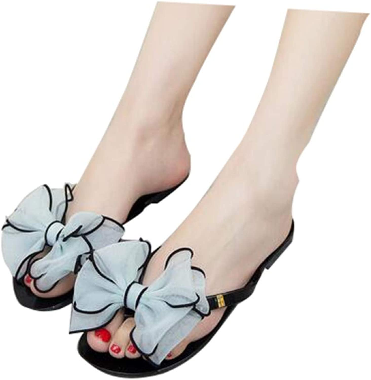 T-JULY Bowtie Flip Flops Summer Style Gladiator Slippers Slip On Beach shoes Woman Sweet Slippers Women shoes