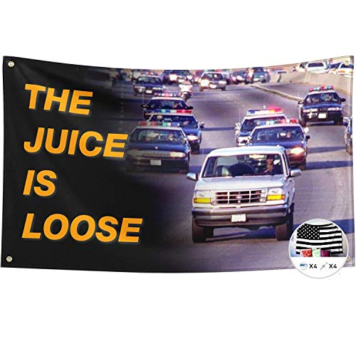 Probsin The Juice is Loose Flag OJ Simpson 3x5 Feet Banner,Funny Poster UV Resistance Fading & Durable Man Cave Wall Flag with Brass Grommets for College Dorm Room Decor,Outdoor,Parties,Gift