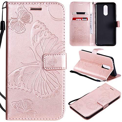 ViViKaya Handyhülle für LG K40,Schlanke Leder Schmetterling Brieftasche hülle Flip Folio Handytasche für LG K40 [Rose Gold]