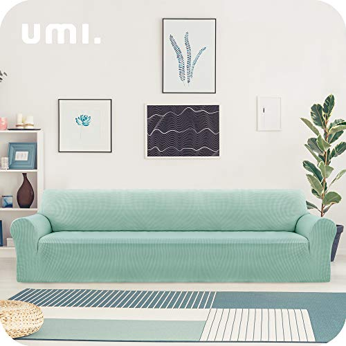 UMI. by Amazon Funda Sofa Suave Elastica de Color Liso 4 Plazas Verde Claro
